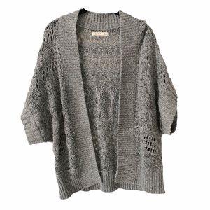 Chunky Loose Knit Open Cardigan Grey M/L